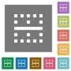 Horizontal border square flat icons - Horizontal border flat icons on simple color square backgrounds
