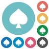 Spades card symbol flat round icons - Spades card symbol flat white icons on round color backgrounds