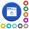 Browser pointer cursor beveled buttons - Browser pointer cursor round color beveled buttons with smooth surfaces and flat white icons