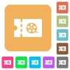 Movie discount coupon rounded square flat icons - Movie discount coupon flat icons on rounded square vivid color backgrounds.