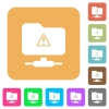 FTP warning rounded square flat icons - FTP warning flat icons on rounded square vivid color backgrounds.