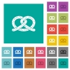 Salted pretzel square flat multi colored icons - Salted pretzel multi colored flat icons on plain square backgrounds. Included white and darker icon variations for hover or active effects.