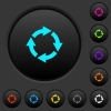 Rotate right dark push buttons with color icons - Rotate right dark push buttons with vivid color icons on dark grey background