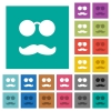 Glasses and mustache square flat multi colored icons - Glasses and mustache multi colored flat icons on plain square backgrounds. Included white and darker icon variations for hover or active effects.