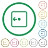 Move object left flat icons with outlines - Move object left flat color icons in round outlines on white background