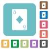 Five of diamonds card rounded square flat icons - Five of diamonds card white flat icons on color rounded square backgrounds