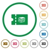 Bookstore discount coupon flat icons with outlines - Bookstore discount coupon flat color icons in round outlines on white background