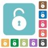 Unlocked round padlock with keyhole rounded square flat icons - Unlocked round padlock with keyhole white flat icons on color rounded square backgrounds