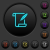 Paper scroll with feather dark push buttons with color icons - Paper scroll with feather dark push buttons with vivid color icons on dark grey background