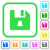 File alerts vivid colored flat icons - File alerts vivid colored flat icons in curved borders on white background