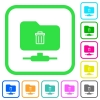FTP delete vivid colored flat icons - FTP delete vivid colored flat icons in curved borders on white background