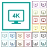 4K display flat color icons with quadrant frames - 4K display flat color icons with quadrant frames on white background