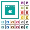 Browser home page flat color icons with quadrant frames - Browser home page flat color icons with quadrant frames on white background