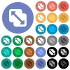 Merge shapes round flat multi colored icons - Merge shapes multi colored flat icons on round backgrounds. Included white, light and dark icon variations for hover and active status effects, and bonus shades on black backgounds.