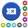 Air travel discount coupon beveled buttons - Air travel discount coupon round color beveled buttons with smooth surfaces and flat white icons