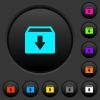 Archive dark push buttons with color icons - Archive dark push buttons with vivid color icons on dark grey background
