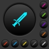 Sword dark push buttons with color icons - Sword dark push buttons with vivid color icons on dark grey background