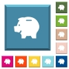 Left facing piggy bank white icons on edged square buttons in various trendy colors - Left facing piggy bank white icons on edged square buttons
