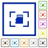 Camera memory card flat framed icons - Camera memory card flat color icons in square frames on white background