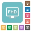 Full HD display white flat icons on color rounded square backgrounds - Full HD display rounded square flat icons
