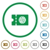 Pizzeria discount coupon flat icons with outlines - Pizzeria discount coupon flat color icons in round outlines on white background