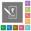 Signing Rupee cheque square flat icons - Signing Rupee cheque flat icons on simple color square backgrounds