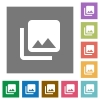 Photo library square flat icons - Photo library flat icons on simple color square backgrounds