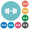 Gym flat white icons on round color backgrounds - Gym flat round icons