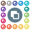 Subtract shapes flat white icons on round color backgrounds - Subtract shapes flat white icons on round color backgrounds. 17 background color variations are included.