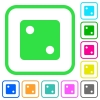 Dice two vivid colored flat icons - Dice two vivid colored flat icons in curved borders on white background
