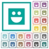Smiley flat color icons with quadrant frames on white background - Smiley flat color icons with quadrant frames