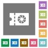Photography shop discount coupon square flat icons - Photography shop discount coupon flat icons on simple color square backgrounds