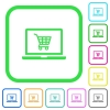 Webshop vivid colored flat icons - Webshop vivid colored flat icons in curved borders on white background