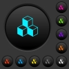 Cubes dark push buttons with color icons - Cubes dark push buttons with vivid color icons on dark grey background
