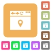 Browser get location rounded square flat icons - Browser get location flat icons on rounded square vivid color backgrounds.