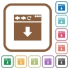 Browser scroll down simple icons - Browser scroll down simple icons in color rounded square frames on white background