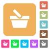 Shopping basket rounded square flat icons - Shopping basket flat icons on rounded square vivid color backgrounds.