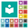 Library multi colored flat icons on plain square backgrounds. Included white and darker icon variations for hover or active effects. - Library square flat multi colored icons