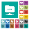 FTP over SSH square flat multi colored icons - FTP over SSH multi colored flat icons on plain square backgrounds. Included white and darker icon variations for hover or active effects.