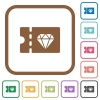 Jewelry store discount coupon simple icons - Jewelry store discount coupon simple icons in color rounded square frames on white background