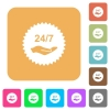 24 hours seven service sticker rounded square flat icons - 24 hours seven service sticker flat icons on rounded square vivid color backgrounds.