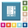 Document with content and scroll bars white icons on edged square buttons - Document with content and scroll bars white icons on edged square buttons in various trendy colors