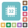 Microprocessor 32 bit architecture rounded square flat icons - Microprocessor 32 bit architecture white flat icons on color rounded square backgrounds