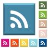 Radio signal white icons on edged square buttons in various trendy colors - Radio signal white icons on edged square buttons