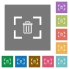Delete image from camera square flat icons - Delete image from camera flat icons on simple color square backgrounds