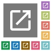 Launch application square flat icons - Launch application flat icons on simple color square backgrounds