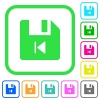 File previous vivid colored flat icons - File previous vivid colored flat icons in curved borders on white background