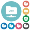 FTP quit flat round icons - FTP quit flat white icons on round color backgrounds