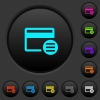 Credit card options dark push buttons with color icons - Credit card options dark push buttons with vivid color icons on dark grey background