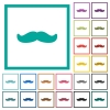 Mustache flat color icons with quadrant frames on white background - Mustache flat color icons with quadrant frames